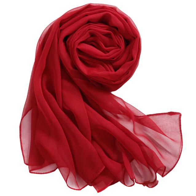 2019 Women Scarf  Red Fashion Women Long Soft Thin Wrap Lady Shawl Chiffon Scarf Beach Scarves Warm And Light Scarf L308