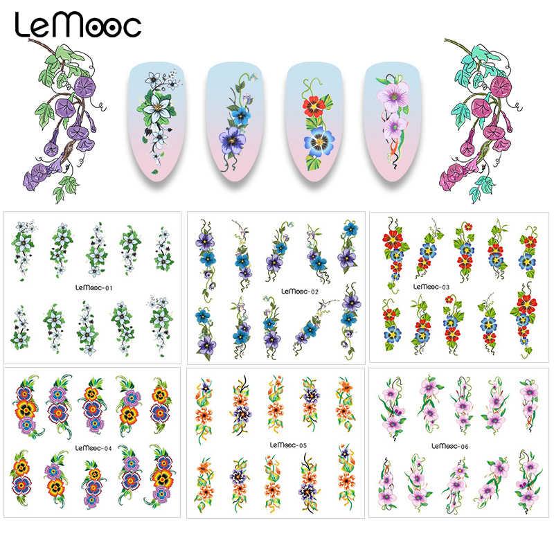 Lemooc água decalque 1 folha de transferência de unhas adesivo decoração da arte do prego para manicure watermark flor projetos