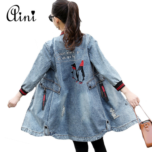 b5e4f9bf546 Plus Size 3XL New Women s Long Denim Jackets Coats Spring Autumn Outerwear  Fashion Single Breasted Casual Overcoat Streetwear