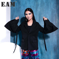 EAM 2017 Autumn Trendy New Horn Sleeve Casual Long Sleeve Pulling Rope Solid Color Jacket