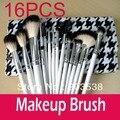 Professional Makeup Brush 16PCS Cosmetic Makeup Brush Set  One Set of 16 Makeup Brushes+Stylish Checker Fashionable Leather Case