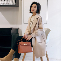 Office Lady Long Wool Coat Single Button Wool Blend Coat and Jacket Turn down Collar Pockets Women Coats Autumn Winter