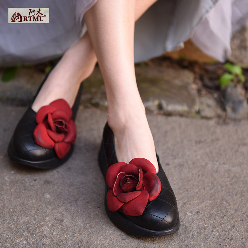 Original New Spring 2017 Female Flowers Shallow Mouth Women Shoes Large Base Genuine Leather Shoes 1585