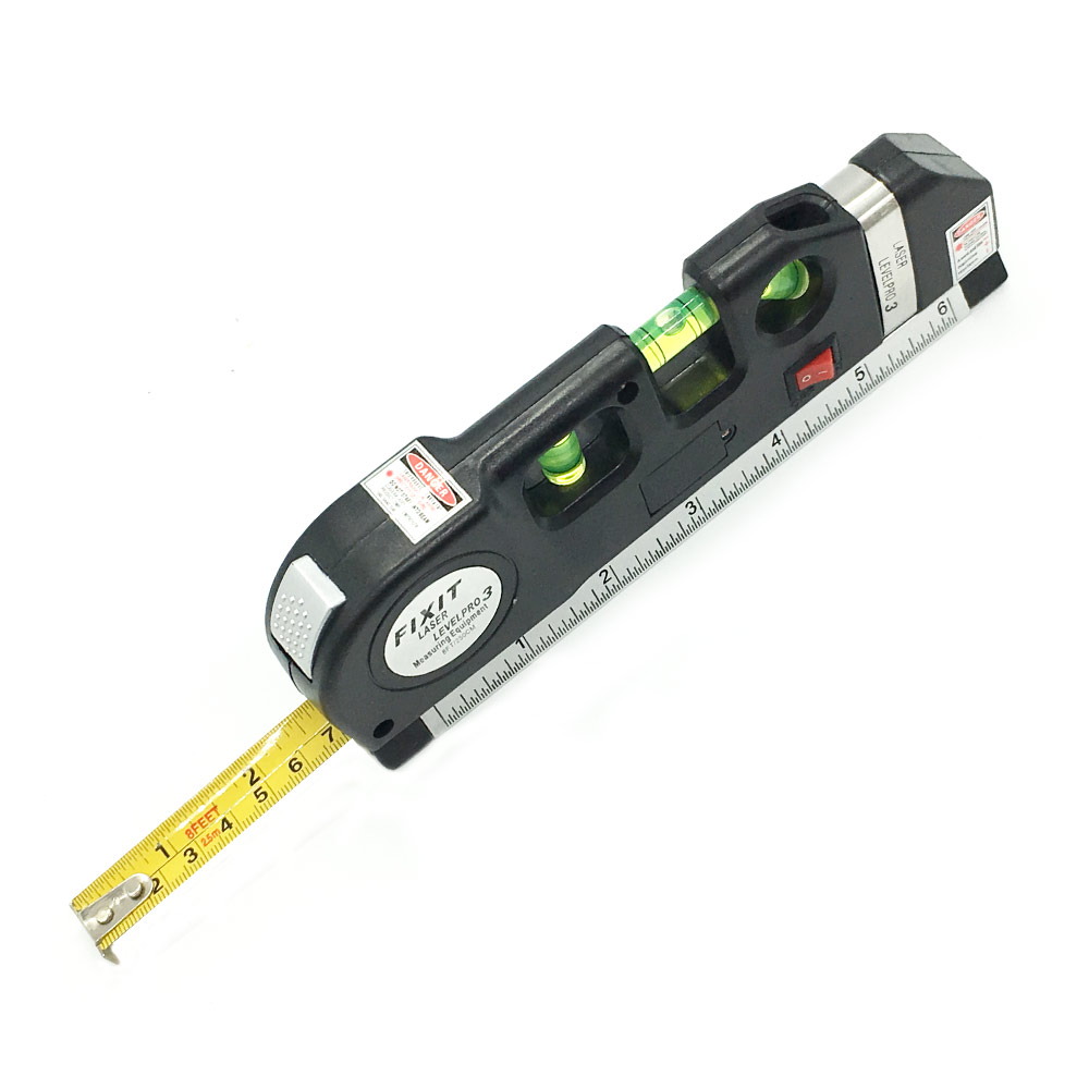 NEW Accurate  Multipurpose Laser Level Laser Measure Line 8ft+ Measure Tape Ruler Adjusted Standard And Metric Rulers