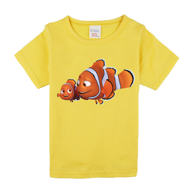 T-shirt for children 2018 summer short sleeve 100% cotton high quality T-shirts for girls boys fish funny tshirt top tee shirt