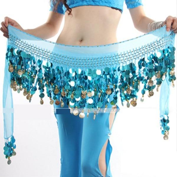 New Women Belly Dance Costume Hip Scarf Wrap Sequins Belt 58 Coin Chiffon Skirt 5 Color