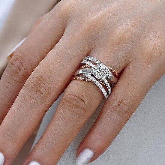 925 argent AAA Zircon luxe courbe d'intersection femelle cristal rond pierre bague de fiançailles anneaux de fête Vintage pour les femmes
