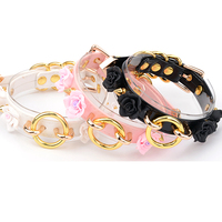 Hand Crafted Layered Flower Choker Spiked Studded Golden Pink Black Lolita Fashion Collar Cute Kawaii Floral Necklace
