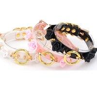 Hand crafted fiore a strati choker spiked studded oro rosa nero lolita fashion collare sveglio kawaii collana floreale
