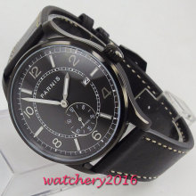 42mm PARNIS Black Dial PVD Coated Leather strap Date Luminous ST 1731 Automatic Movement men's Watch