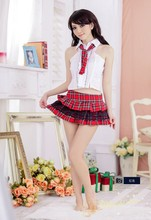 plus size lingerie sexy women lingerie student uniform mini skirt red plaid school girl cosplay costume hot lingerie