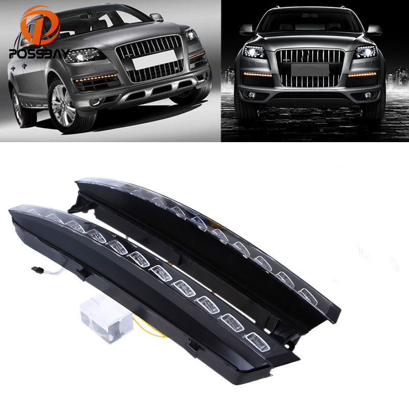 POSSBAY Car Daylights for Audi Q7 (4L) '2005 2006 2007-2009 Pre-facelift 22 LED DRL Daytime Running Lights White Yellow Bulbs цена