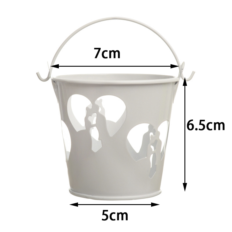 Hollow Love Couple Iron Bucket Candy Box Wedding Decorations