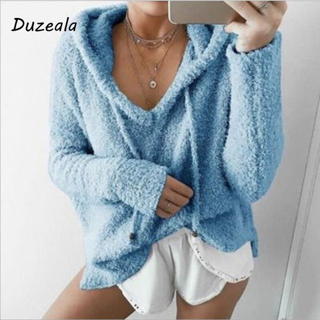 2018 Autumn Top Women Casual Mohair Hooded Pullovers V Neck Fleece Sweater Fashion Sweet Loose Warm Winter Mohair Tops Pullover