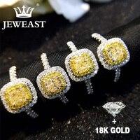 Природный желтый бриллиант 18 К золото Золотое кольцо AU 750 однотонные золотистые красивые высококлассные Мода вечерние Fine Jewelry Лидер продаж