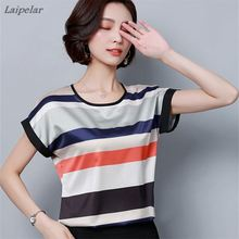 2018 New Plus Size Women Printing Blouse Shirt Striped Blouses Short-Sleeve Chiffon Fashion Tops Summer Style Blusas Femininas