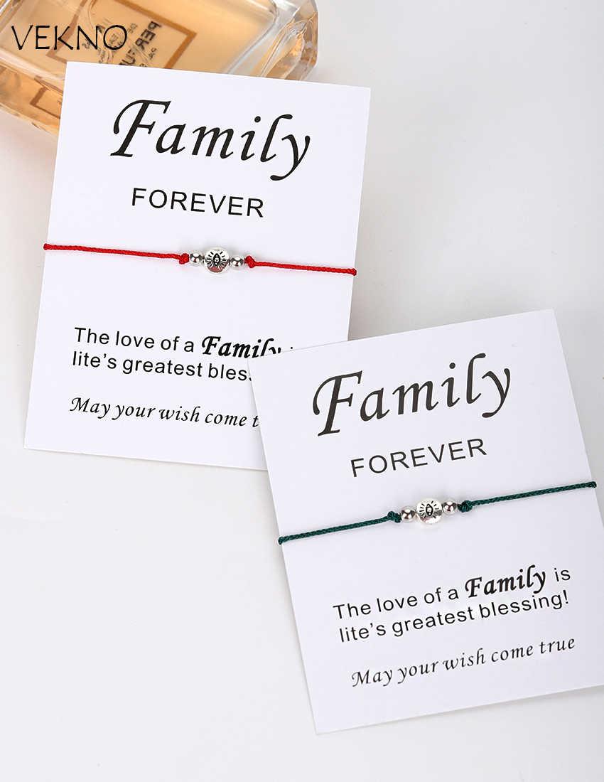 VEKNO 赤文字チベットの銀のブレスレット調節可能な編組友情ファミリーギフトカードは、彼と彼女の恋人ジュエリー