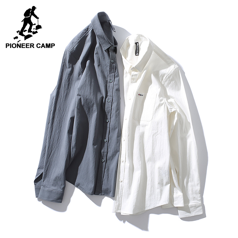 Pioneer Camp new arrival solid casual shirt men brand-clothing simple long sleeve shirt male top quality white grey ACC701355 Рубашка