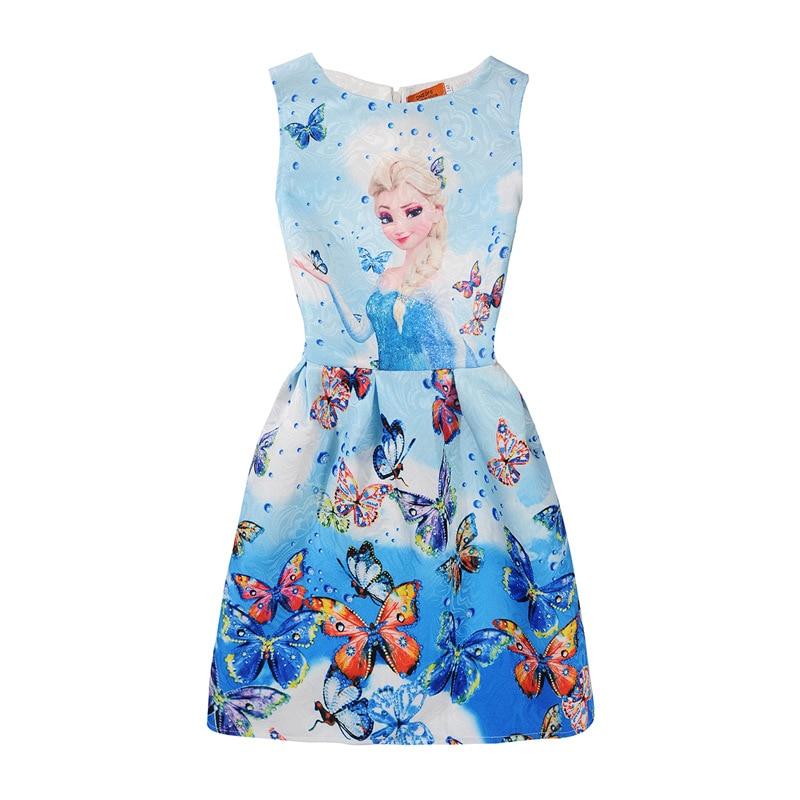 2018 Meninas do Verão Vestidos Vestido Elsa Anna Princesa Vestido de Festa Para Meninas Vestidos de presente dos desenhos animados Da Borboleta de Impressão Do Bebê Roupas de Menina