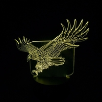 3D LED WOW Amazing Flying Big Eagle Shape Night Light Colorful Hawk Table Lamp for Office Hotel Bedroom Bar