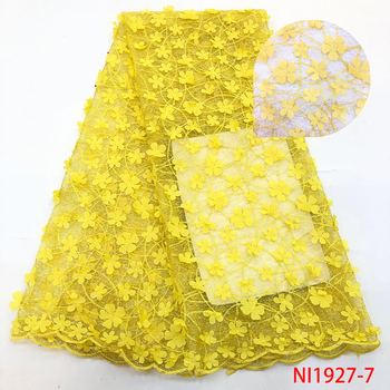 2019 Fabric Nigerian Dress Designs Simple Wedding Lace Gown Customised High Quality Yellow Lace Fabric QF1928-7