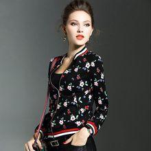Europe Fashion Plant flowers printing jackets women spring autumn jacket lady printed baseball uniform female Casual coats X7025