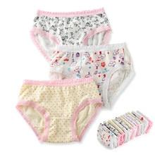 3 шт./лот трусики с рисунками Хлопковые укороченные штаны трусики с рисунками нижнее белье для девочек PT-R5E8