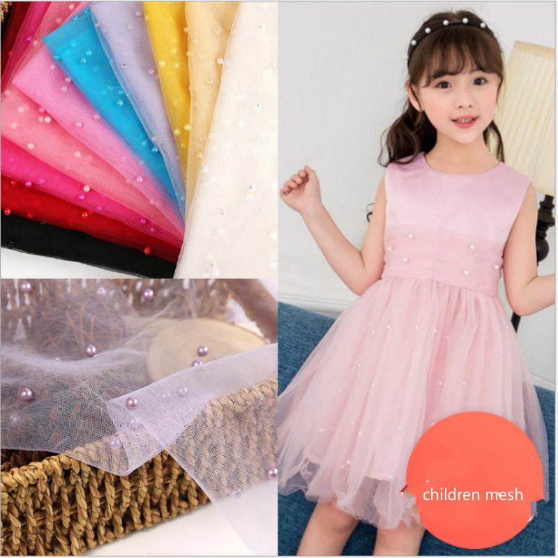 Nylon Mesh Fabric 3D Pearl Children Wear Fabric  Women's Beaded Wedding Decoration Soft Cloth