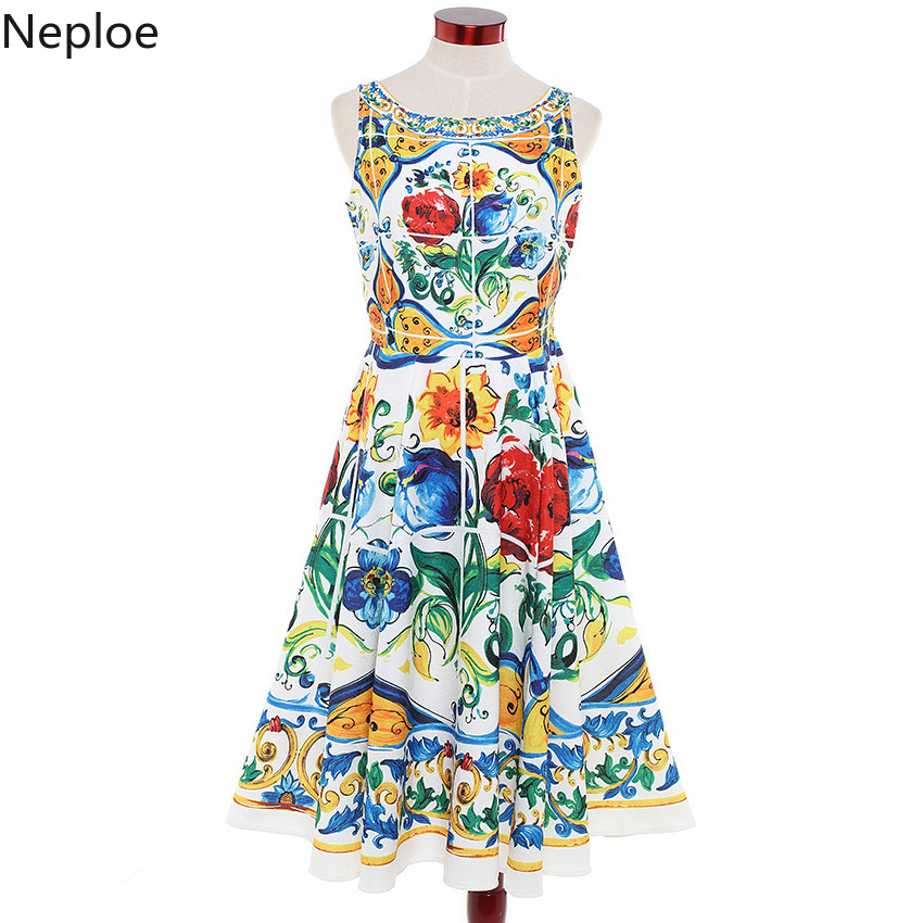 Nepole fleur imprimer manches dos ouvert robe mode Long o-cou douce fille Vestido 2019 été nouveau Zipper Placket Jupe 42737