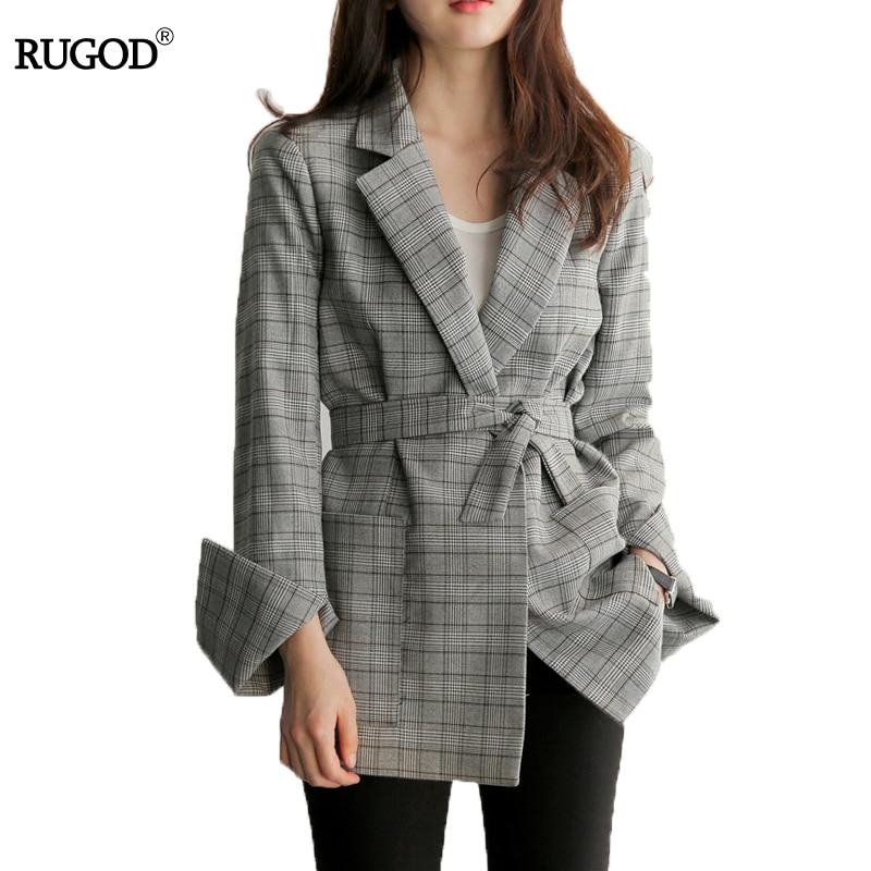 RUGOD 2018 nueva primavera gris Plaid Belted Oficina Blazer chaqueta Collar con muescas traje de trabajo elegante trabajo Blazers Feminino