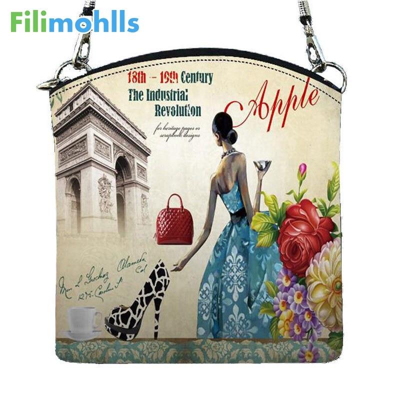 New European style women Messenger Bags Vintage canvas digital printing small satchel shoulder bag crossbody bag bolsos D12-54 casual canvas satchel men sling bag
