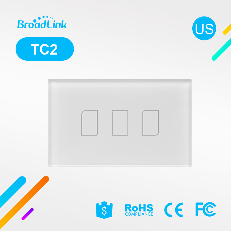 US / AU Standard Broadlink TC2 3 Panel Kaca Gang Wireless Remote Control Switch Switch 110V 220V Smart Home Automation