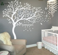 Wall Decal Vinyl Sticker Nursery Large White Tree Bird Custom Any Name And Color Kids Bedrom