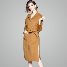 Camel Two-sided Wool Overcoat Woman 100%Wool trench 2018 New stylish Long Vent lace-up Loose wool windbreaker woman winter 81163