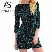 Anself Fashion Autumn Sequin Party Dresses O Neck Three Quarter Sexy Bandage Women Dress Vintage Club