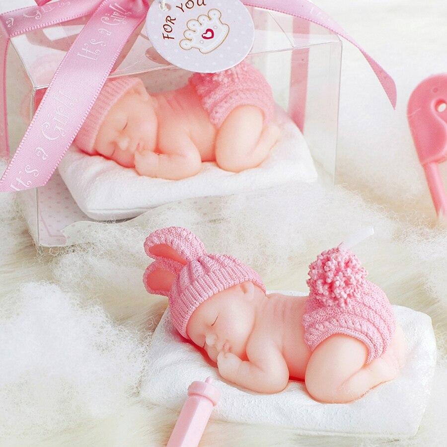 Creative Smoke Free Sleep Baby Shape Art Cake Candle For
