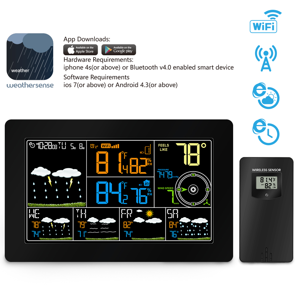 Wifi Wireless Weather Station Thermometer Hygrometer Indoor Outdoor with Alarm Clock Temperature Pressure Wind Speed Display