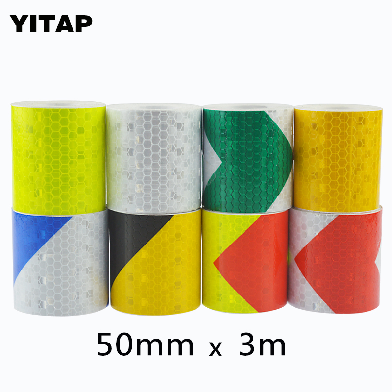 YITAP 50mmx3m Safety Mark Reflective tape stickers car-styling Self Adhesive Warning Tape Automobiles Motorcycle Reflective Film все цены