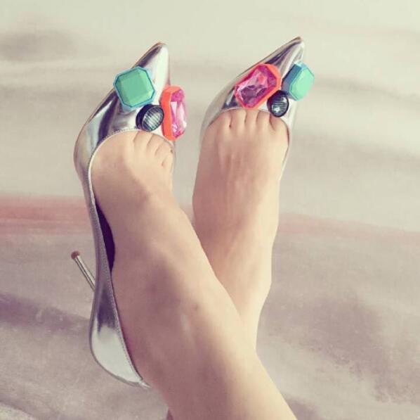 Women's Shoes Silver Lola Metallic Crystal High Heels Pointed Toe Sapato Feminino Pumps Office Shoes Woman Diamond Ladies Shoes mavirs high heels hot sale spring brand women pointed toe shoes flock ladies pumps glitter suqare heels sapato feminino plus 653