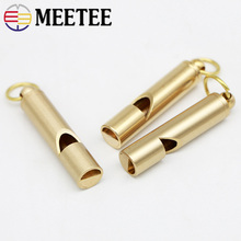 Meetee 5pcs Retro Pure Brass Whistle Buckle Key Ring Decoration Referee DIY Outdoor Camping Survival Equipment Supplies BD438
