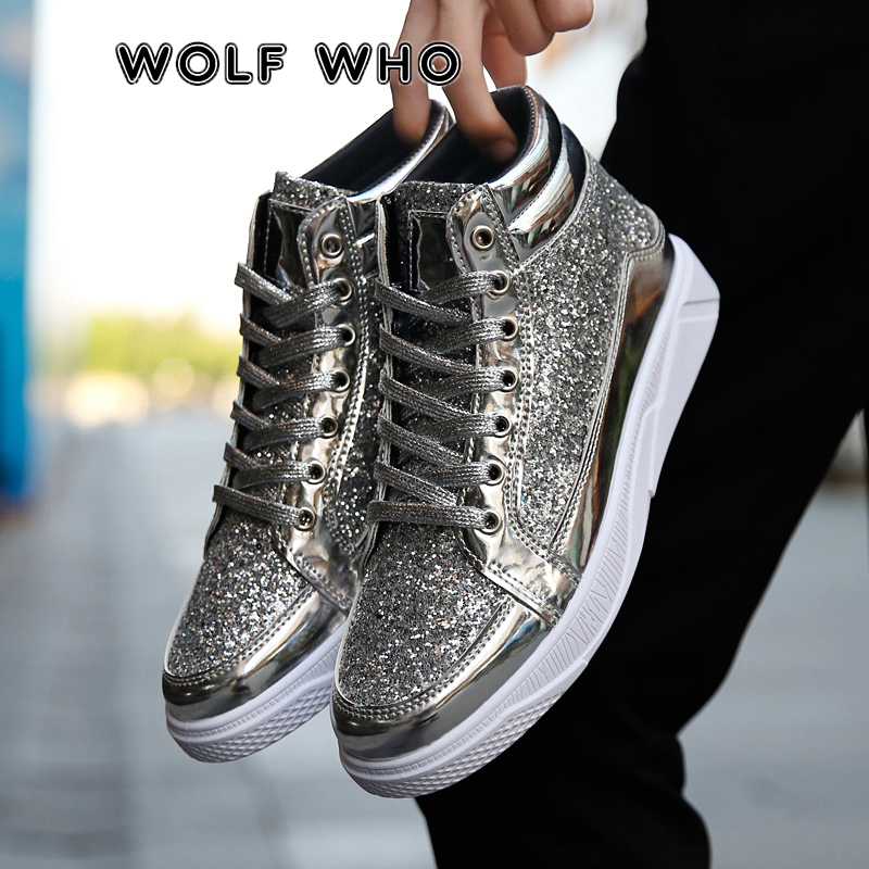 WOLF WHO New Men Hip Hop Casual Shoes Man Leather Gold Silver Fashion Sneakers Male High Top Party Lace Up Shoes Krasovki X-058