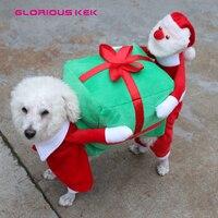 GLORIOUS KEK Weihnachten Hund Kostüme Lustige Weihnachtsmann Hund Kleidung Hund Geschenk Welpe Fleece Mantel Warmen Winter Haustier Kleidung