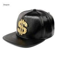2017 Nouvelle Mode US D'or Strass Logo Baseball Chapeau Hommes Femmes PU Snapback Chapeau Casquettes Réglable Rue En Cuir Printemps Chapeau