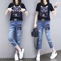 Women Cartoon T Shirts Jeans Suits Casual Short Sleeve Sequins Tshirt+Calf Length Denim Pants Sets for Ladies Woman