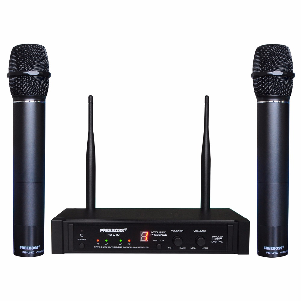 Freeboss FB-U10 Dual Way Digital UHF Wireless Microphone with 2 Metal Handhelds стоимость