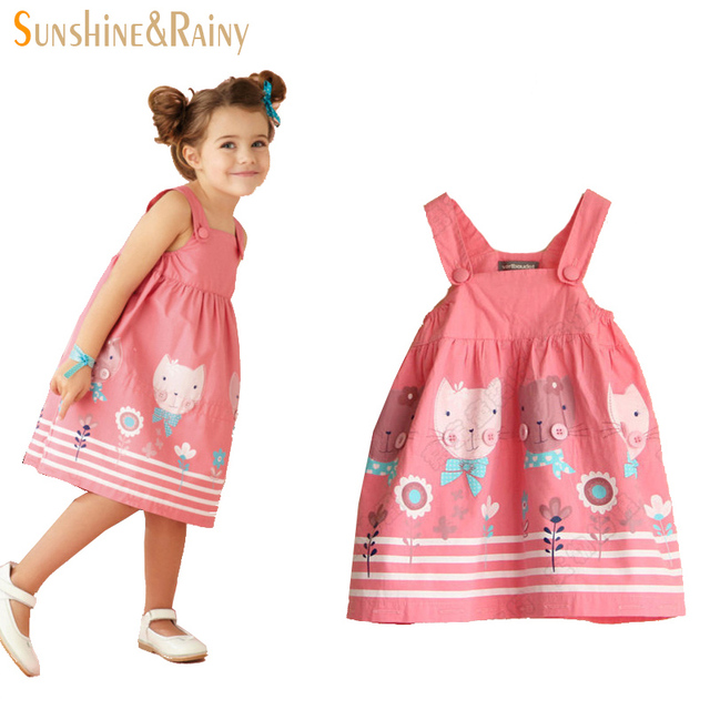 Sunshine Rainy Summer Kids Clothes Casual Girls Dresses Cute Cat Baby Girl Cotton Dress Princess Dress for Girl roupas vestido