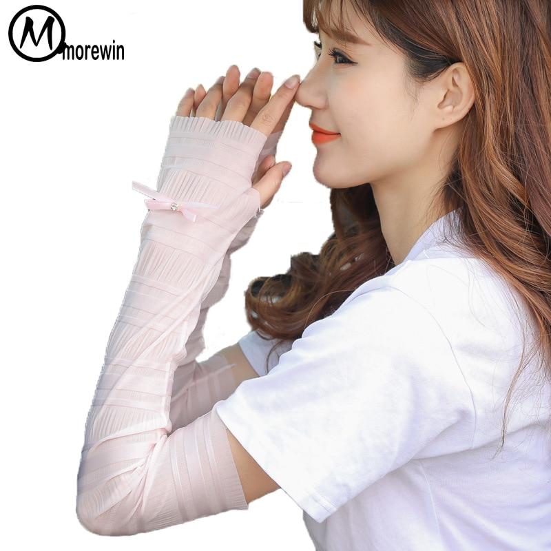 Women Ice Silk Fingerless Arm Warmer Womens Stretch Long Driving Gloves Ladies Summer Sunscreen Sleeve Gloves New Fashion 2018
