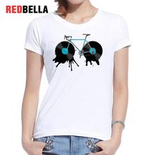 REDBELLA Tee Shirt Femme Artistic Design Cute Vintage White Cotton Cartoon Drawing Paint Women Tshirt Casual Daily Cool Clothing