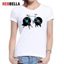 REDBELLA Tee Shirt Femme Artistic Design Cute Vintage White Cotton Cartoon Drawing Paint Women Tshirt Casual Daily Cool Clothing