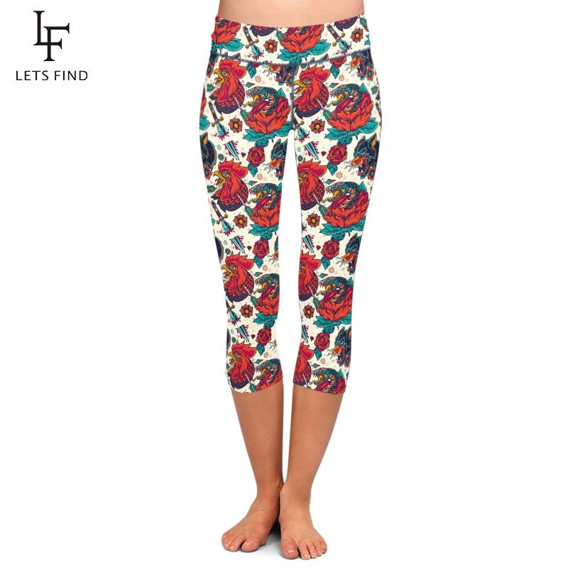Summer Hot Sales Women Capri Leggings Animal Chicken Printing Mid-Calf 3/4 High Waist Plus Size High Elastic Casual Leggings